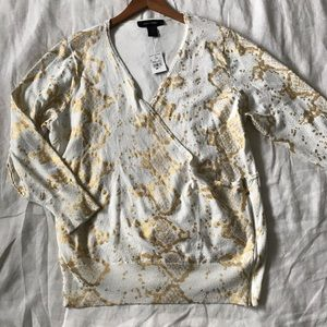 Ashley Stewart // NWT Gold Snakeskin Sweater